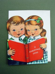 Vintage Norcross Die-Cut Xmas Greeting Card Boy and Girl Singing Holiday Wishes   eBay