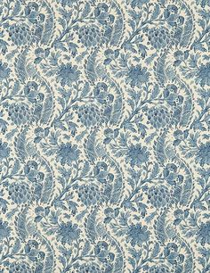 Cochin, a printed damask pattern on linen, is inspired by an 18th-century document from the Zoffany archive.