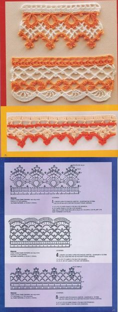 _sissy crochet edging and diagram Crochet Boarders, Crochet Edging Patterns, Crochet Diagram, Crochet Chart, Filet Crochet, Crochet Motif, Crochet Designs, Crochet Lace, Diy Crochet And Knitting