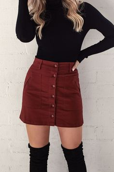 Channing Burgundy Button Skirt by Priceless. Cute skirt outfit with black boots … Channing Burgundy Button Skirt by Priceless. Cute skirt outfit with black boots and a black long sleeve! idea with a buttoned burgundy skirt and black thigh high boots. Cute Skirt Outfits, Cute Fall Outfits, Cute Skirts, Winter Fashion Outfits, Look Fashion, Work Outfits, Skirt Outfits For Winter, Summer Outfits, Outfit With Skirt