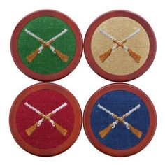 Crossed Shotguns Needlepoint Coasters by Smathers & Branson