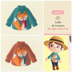 Animal Crossing Pattern, Animals Crossing, Animal Crossing Guide, Animal Crossing Villagers, Animal Crossing Qr Codes Clothes, Motif Acnl, Bug Images, Fox Sweater, Fleece Sweater