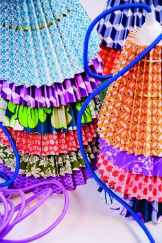 fun lampshades; I've been looking for cute lamp shades for the girls' room for ever with no luck  I never considered just making my own...