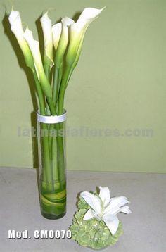 #white calla lilies and casablanca lily #wedding #centerpiece