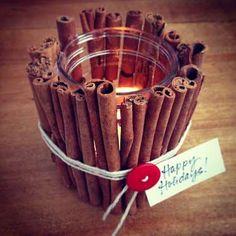 All you need are a hot glue gun, some cinnamon sticks, and a mason jar to DIY this wonderfully scent... - POPSUGAR Photography / Sarah Lipoff