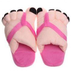 Soft Plush Cute Big Feet Pattern Winter Slippers