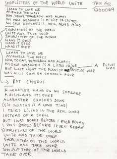 Morrissey's handwritten lyrics to 'Shoplifters of the World Unite' (The Smiths).
