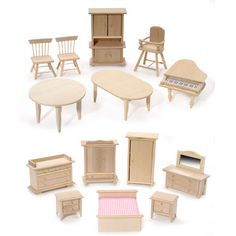 Bare Wooden Doll House Furniture Set of 12 pcs. | A Little Square - $36.00 - buy more and get a price break!