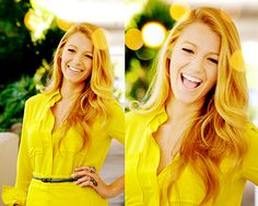 Blake Lively. Brilliant Smile. Yellow Dress.