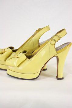 OH MY GOSH! 40s fashion shoes spectator pumps platforms yellow bows for sale color photo