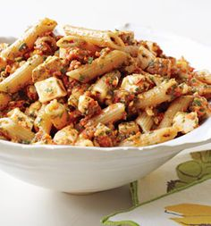 Whole wheat penne with sun-dried tomato pesto and smoked mozzarella