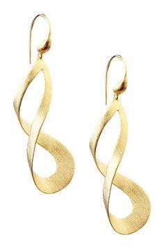 18K Gold Clad Open Twisted Swirl Dangle Earrings