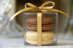Dark Chocolate and Vanilla Bean Macaron Favor