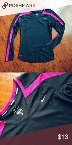 Nike Dri-fit long sleeve shirt Black Nike athletic shirt with purple stripes down sleeves. In good condition Nike Tops Tees - Short Sleeve
