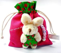Ostertasche mit Namen Osterbeutel   Geschenktasche Ostern Osterhase pink