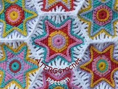 Crochet pattern hexagon 'falling star' by ATERGcrochet  After seeing a different pattern by ATERcrochet pinned on London Jewel's board, I found more delightful patterns at ATERG*'s Etsy shop.  I love her color choices, too.