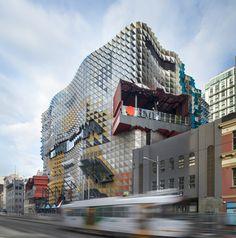 Melbourne architects Lyons have designed a new building for RMIT University.  Photographer John Gollings. Design Lyons Architecture.  https://www.facebook.com/DesignerMelbourne