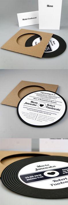 wedding cards, invitation, design, modern, creative, unusual, music, fashionable, vinyl, great, idea #weddinginvitation