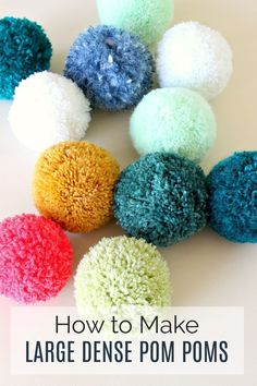 Learn How to Make Giant Pom Poms and Tips/Tricks for Getting Really Dense and Full Pom Poms. Easy Pom Pom Tutorial with Tips for Picking Yarn Too. Make Your Next Pom Pom Crafts Epic with Giant Full Pom Poms. Kids Crafts, Crafts For Teens To Make, Crafts To Sell, Diy And Crafts, Arts And Crafts, Kids Diy, Sell Diy, Decor Crafts, Easy Yarn Crafts