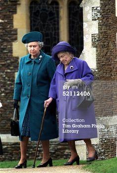 Queen Elizabeth with her Mother- the Queen Mum, December 25, 1999