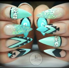 Turquoise Western nails