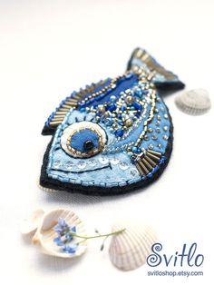 Brooch Fish Golden Blue Felt Brooch Beaded by SvitLoShop on Etsy