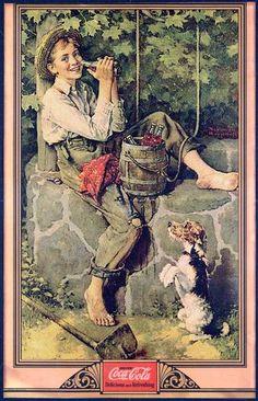 Entre 1926 y 1935, el artista norteamericano Norman Rockwell realizó para Coca Cola una serie de seis  ilustraciones mostrando escenas tradicionales de la vida americana, encargadas para servir en avisos publicitarios.