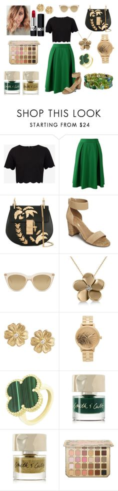 """""""Emeraude"""" by sarashic-7 ❤ liked on Polyvore featuring Ted Baker, Chicwish, Chloé, Aerosoles, Le Specs, Allurez, Jamie Wolf, Nixon, Van Cleef & Arpels and Smith & Cult"""