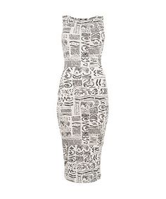 White Pattern (White) White Ethnic Elephant Sleeveless Midi Dress | 281577019 | New Look