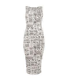 White Pattern (White) White Ethnic Elephant Sleeveless Midi Dress   281577019   New Look