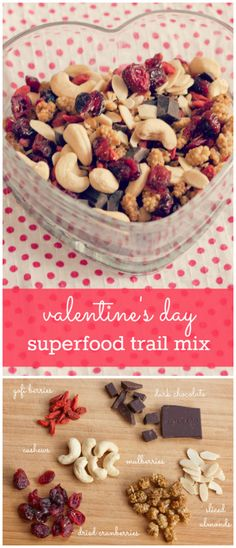 Healthy Snacks This festive superfood trail mix is packed with cashews, almonds and berries -- a perfect healthy treat for Valentine's Day. - A superfood packed Valentine's Day trail mix with cashews, almonds, goji berries and mulberries. Raspberry Bars, Vegan Snacks, Healthy Snacks, Diy Snacks, Quick Snacks, Healthy Eating, Healthy Recipes, Superfood, Valentines Day Food