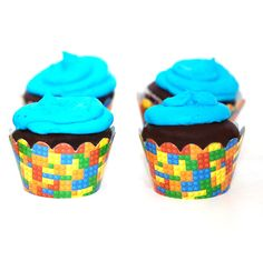 Includes 24 Building Blocks paper cupcake wrappers for standard size cupcakes. Wrap these around your cupcakes to add pizzazz to your cupcake creations! Our cupcake wrappers come with a tab closure. Lego Party Games, Lego Party Favors, Lego Birthday Party, 6th Birthday Parties, Birthday Ideas, 2nd Birthday, Paper Cupcake, Cupcake Party, Birthday Cupcakes