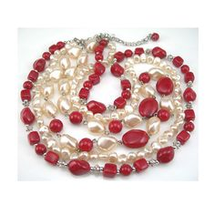 Red Beads & Faux Pearls Necklace 3 Strands by AtticDustAntiques