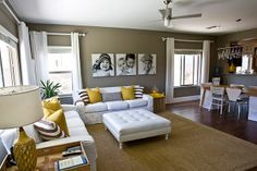 living room. yellow color