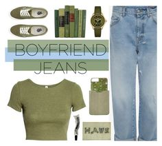 """""""Boyfriend jeans"""" by fanfanfann ❤ liked on Polyvore featuring H&M, Vans, Gray Malin, Barneys New York, Michele and Aesop"""