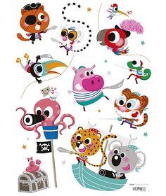 Vinilos infantiles animales Piratas Lilipinso