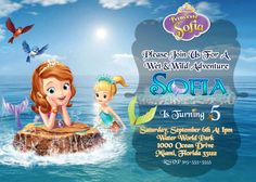SOFIA THE FIRST Invitation Sofia Mermaid by PerfectPixelFactory