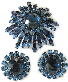 SCHREINER, N.Y. Simulated Sapphire Domed Pin & Clip Earrings Set