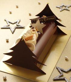 Chocolate Christmas Gifts, Chocolate Gifts, Christmas Desserts, Christmas Log, Xmas, Chocolate Transfer Sheets, Log Cake, Homemade Cake Recipes, Dessert Decoration