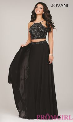 Image of long sleeveless two piece beaded top dress Front Image