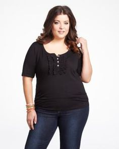 I wish I had this body! As a plus size woman    eyelet henley t-shirt | Shop Online at Addition Elle