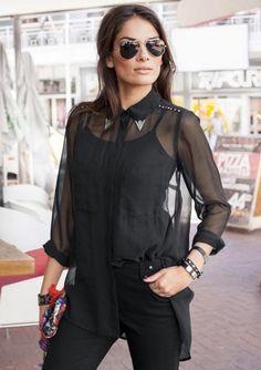 #Bluse, Aniston. Für Sie ausgesucht! Das ist eine Longbluse der Extraklasse! Diese transparente Bluse hat das Zeug jedes Outfit stylisch zu optimieren und macht Ihren Look somit raffiniert.