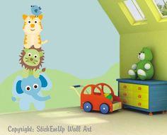 "Safari Animals Nature Removable Wall Decals Boys Girls Kids Nursery 53"" x 20"""