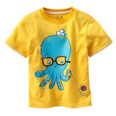 Finally, a shirt for your boys! It could only be cuter if this octopus wearing glasses had 8 yoyos!