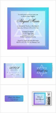 Teal Purple Star of David Bat Mitzvah Invitation Suite