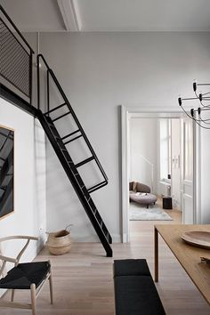 'Minimal Interior Design Inspiration' is a biweekly showcase of some of the most perfectly minimal interior design examples that we've found around the web - Interior Design Examples, Estilo Interior, Room Interior, Balustrades, Piece A Vivre, Staircase Design, Dining Room Design, Dining Rooms, Dining Table