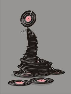 Music Art: balanced by seal, record display Vinyl Music, Vinyl Art, Vinyl Records, 45 Records, Music Illustration, Illustration Vector, Design Illustrations, Record Display, Graffiti