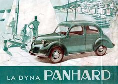 'La Panhard Dyna' in a holiday setting of a bay with a few boats. A contrast with today's overcrowded 'Marinas'