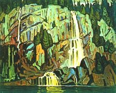 Lawren Harris, Algoma Waterfall, Canadian Group of Seven Tom Thomson, Emily Carr Paintings, Paintings I Love, Oil Paintings, Watercolor Landscape, Landscape Art, Landscape Paintings, Canadian Painters, Canadian Artists