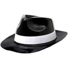 Classic Black Plastic Fedora with White Band. Gangster Fancy DressBlack  FedoraFedora HatCircus ... a6b2f4fc4ee4
